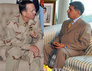 Uneasy meeting: Admiral Mike Mullen, the chairman of the Joint Chiefs of Staff (left) and Director-General ISI Shuja Pasha. Photo: AFP