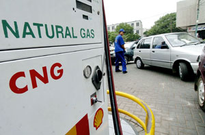 Strong demand: Drivers face long queues for CNG daily. Photo: AFP