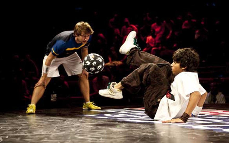 Areeb competing with a co-freestylist and showing his amazing skills. Photo: Craig Kolesky/Red Bull