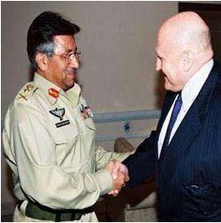Pervez Musharraf and Richard Armitage. Photograph: AFP