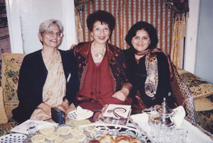December 2004: In Rabat, Morocco with renowned Morroccan sociologist and feminist, Fatima Mernissi (centre) and Pakistan's ambassador Attiya Mahmud (right).