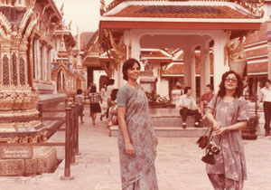 October 1983: With Razia Bhatti (right), then editor of the Herald, in Bangkok on their way back from a conference in Bali.