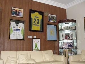 Wall of fame: Inside Shahid Afridi's home in Karachi. Photo: Saif Karamali