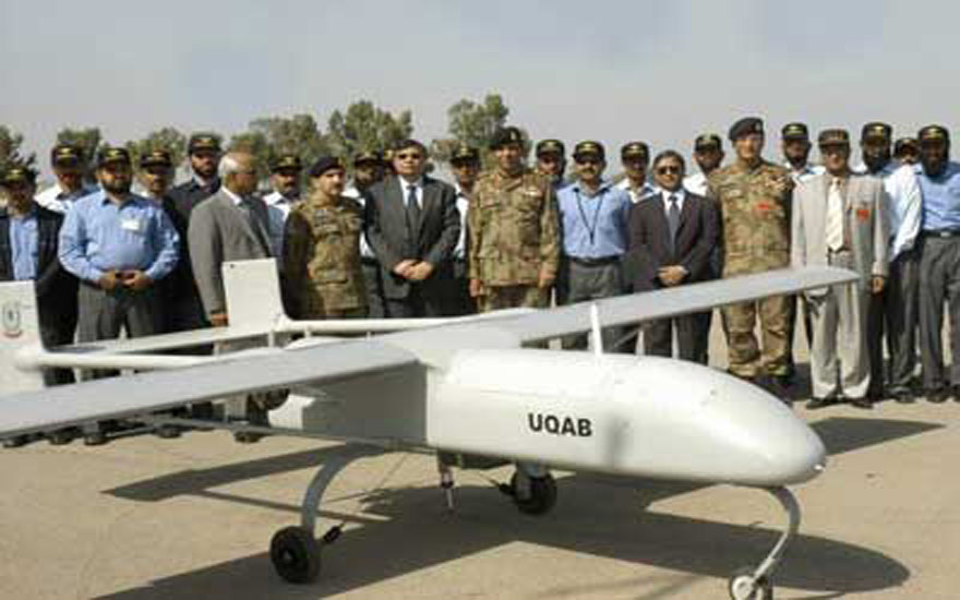 Homegrown: General Kayani with one of Pakistan's indigenously produced UAVs.