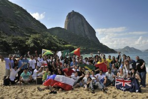 Red Bull Tum Tum Pá teams pose for photo at Praia Vermelha in front of the Sugarloaf mountain in Rio de Janeiro.