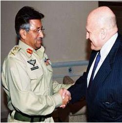 Pervez Musharraf and Richard Armitage. Photograph: AFP
