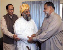 Chaudhry Shujaat Hussain, Maulana Fazlur Rehman and Zafrullah Khan Jamali. Photograph: AFP