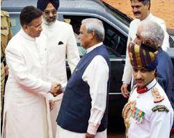 Pervez Musharraf and Atal Behari Vajpayee. Photograph: AFP