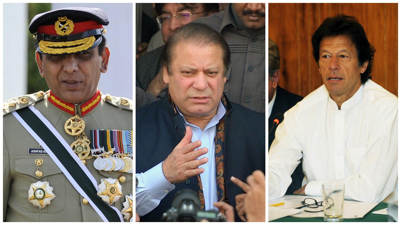 Who's calling the shots? : General Pervez Kayani, Prime Minister Nawaz Sharif and Chairman Pakistan Tehreek-e-Insaf Imran Khan.