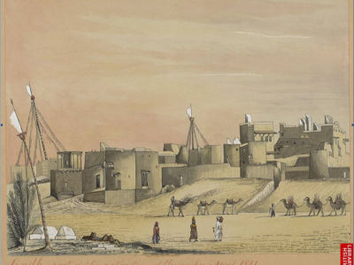 `Sindh, part of the native town of Kurrachee, 1851.' Water-colour of Karachi by Henry Francis Ainslie (c.1805-1879)
